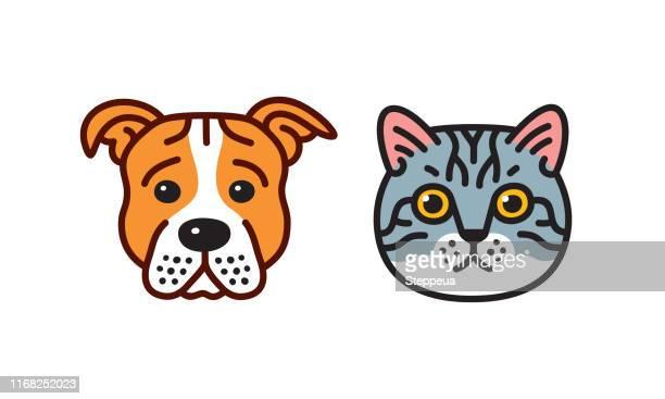 cat & dog - animal head stock illustrations