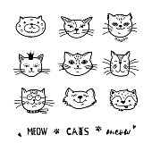Cat doodle, Hand drawn cats icons collection. Cartoon comic cute kittens. Vector illustration
