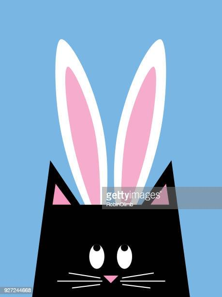 cat easter bunny - easter bunny stock illustrations