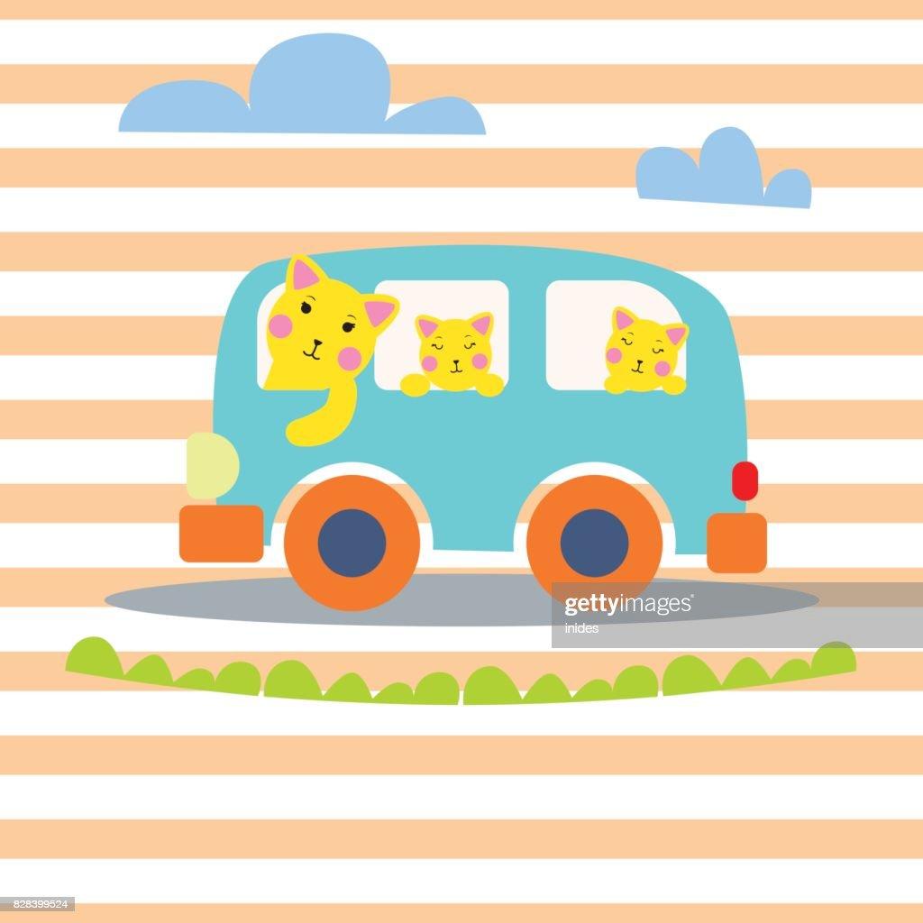 Cat family in hipster van vector illustration for kid apparel