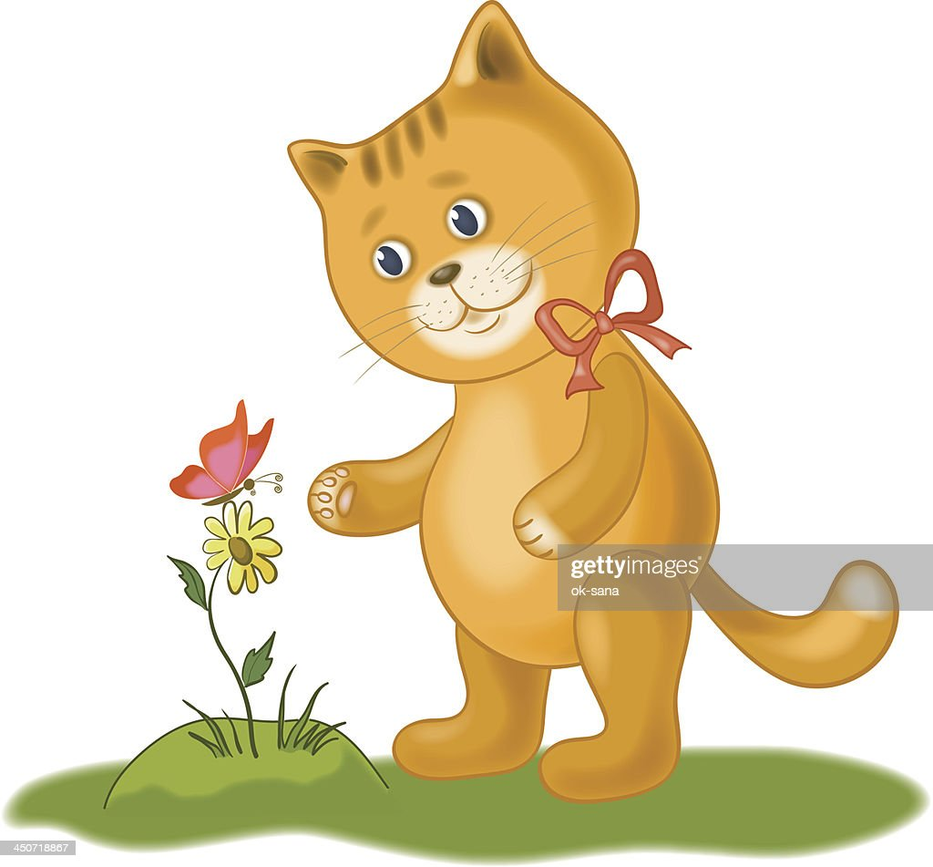Cat, flower and butterfly