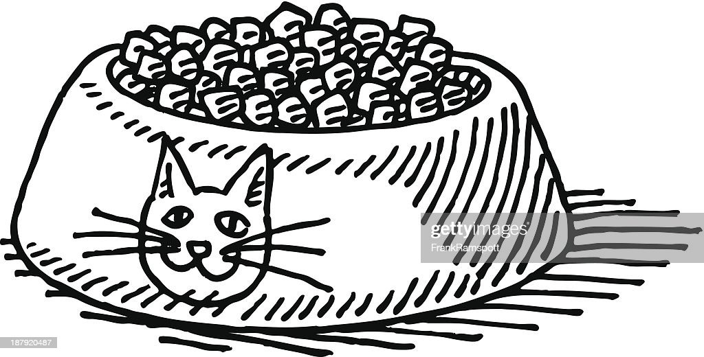 Cat Food Bowl Drawing High-Res Vector Graphic - Getty Images