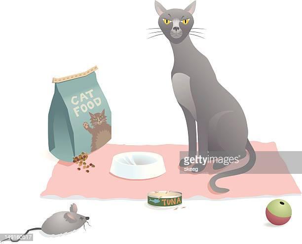 cat food scene - cat food stock illustrations