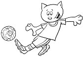cat football player character coloring book