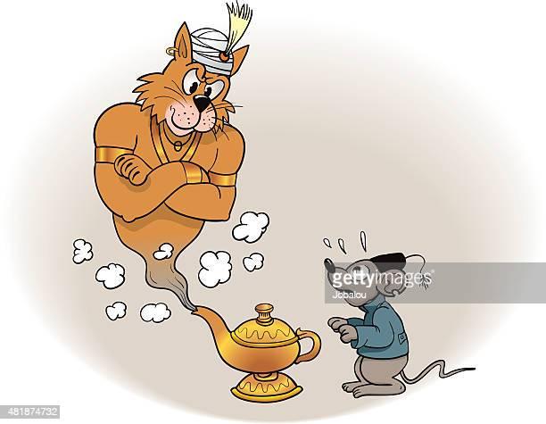 Gato génio de Lâmpada Mágica