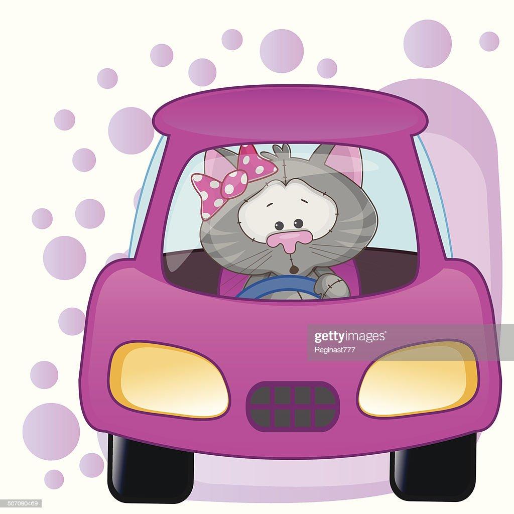 Cat girl in a car