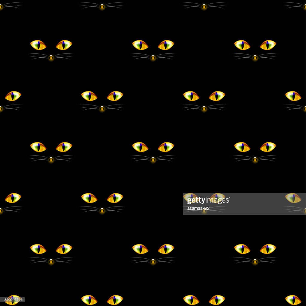 Cat Golden Eye Seamless on Black Background
