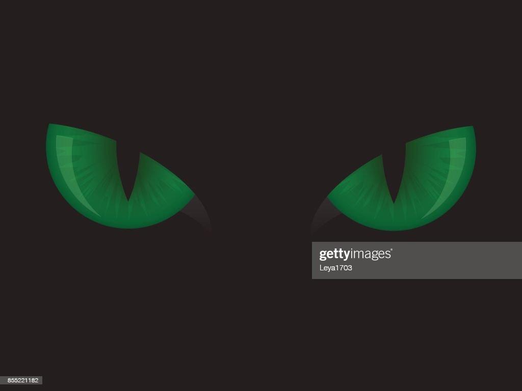 cat green eyes on black