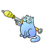 Cat guards with a grenade launcher.