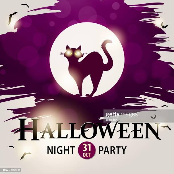 cat halloween invitations - halloween cats stock illustrations
