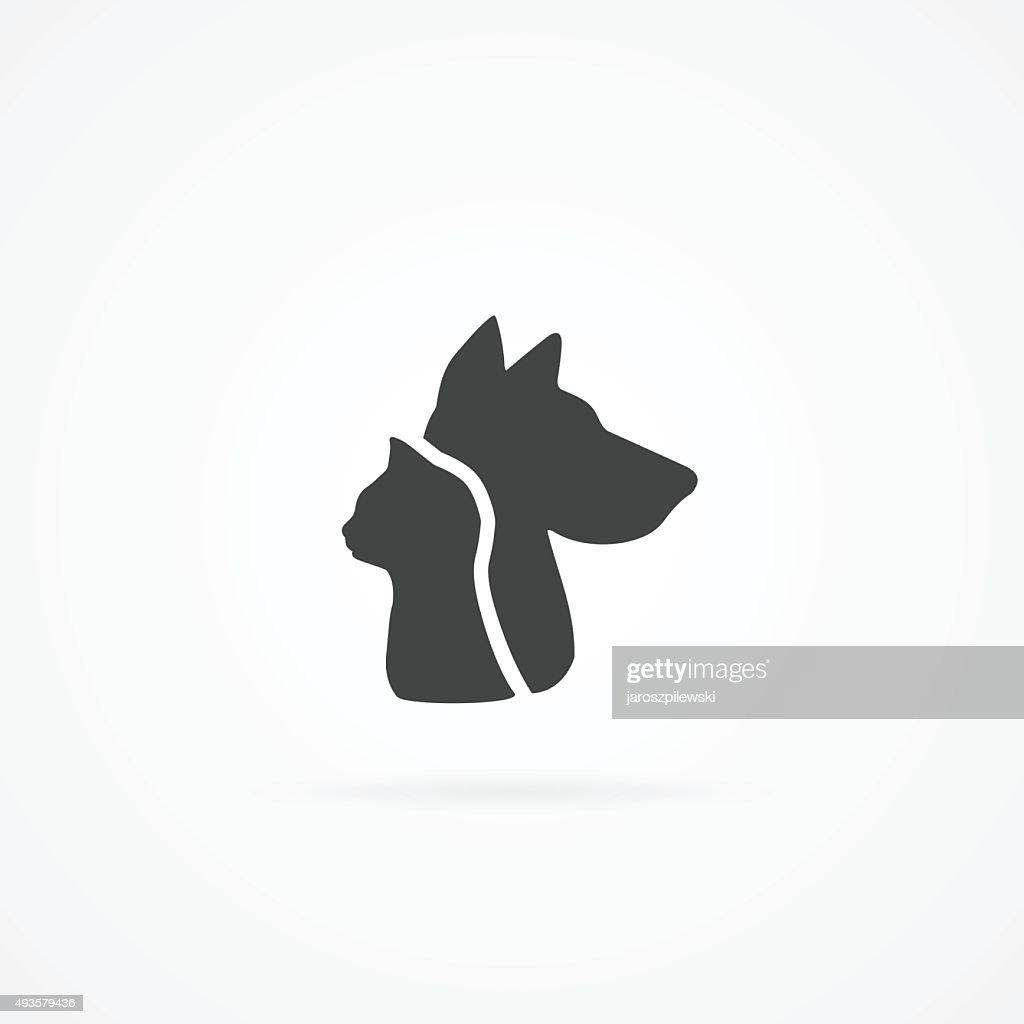 Cat head and dog head icon.