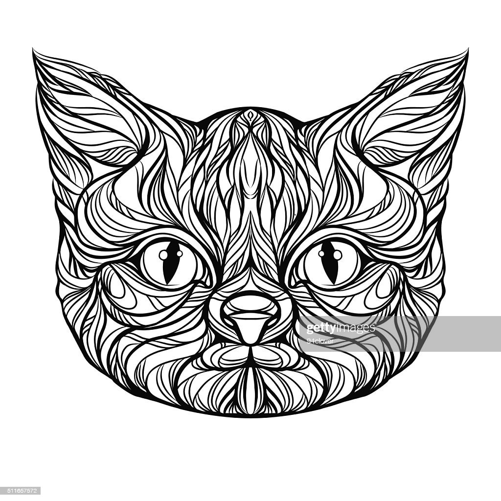 cat head, muzzle, tattoo graphics