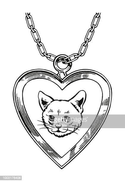 cat heart necklace - choker stock illustrations