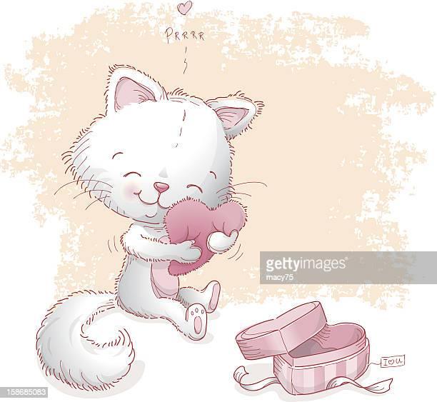 Cat hugging Valentine heart pillow