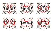 cat icon set - Kabuki style
