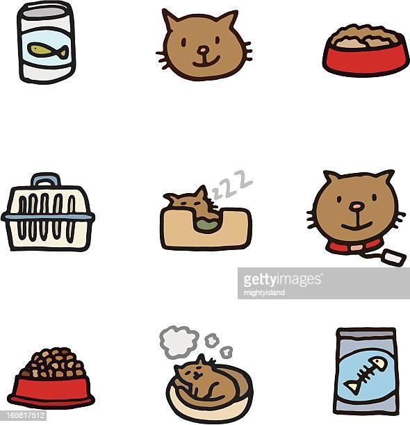 cat icon set - cat food stock illustrations