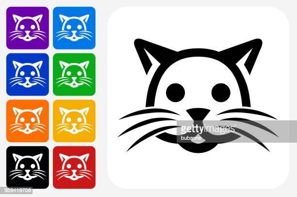 Cat Icon Square Button Set