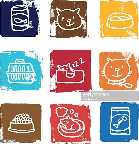 cat icons blocks - cat food stock illustrations