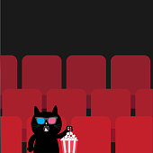 Cat in 3D glasses sitting in movie theater eating popcorn.  Cute cartoon character. Film show Cinema background. Viewer watching movie. Red seats hall. Dark background. Flat design