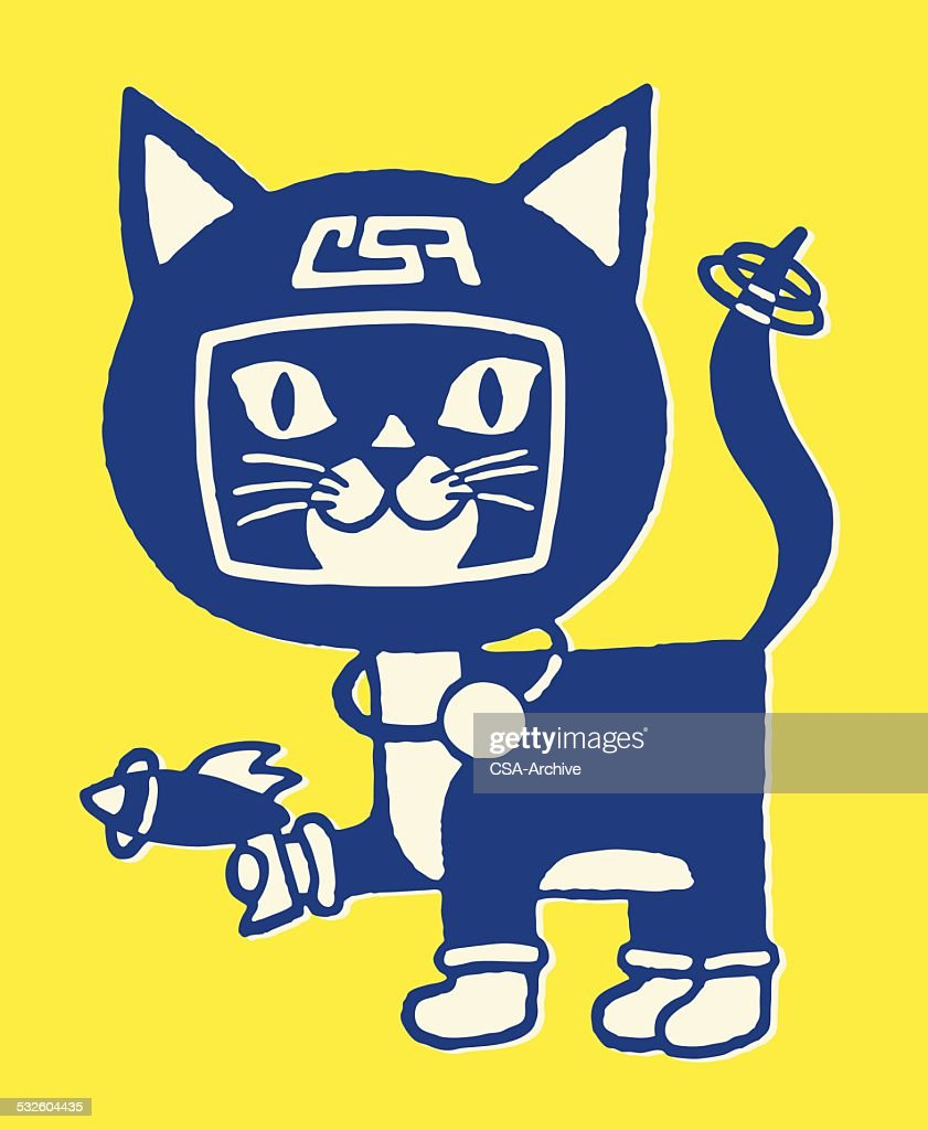 Cat in Space Helmet with Radar Gun : Vector Art