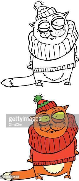cat in sweater - cardigan sweater stock illustrations, clip art, cartoons, & icons