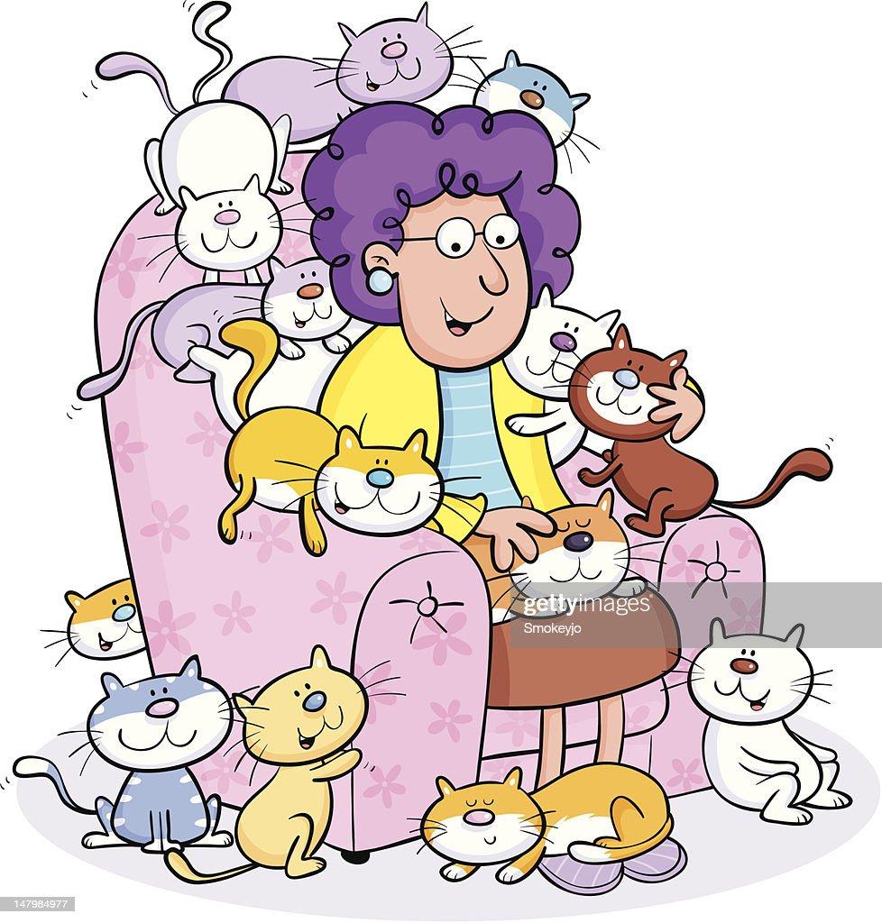 Cat lady : Ilustración de stock