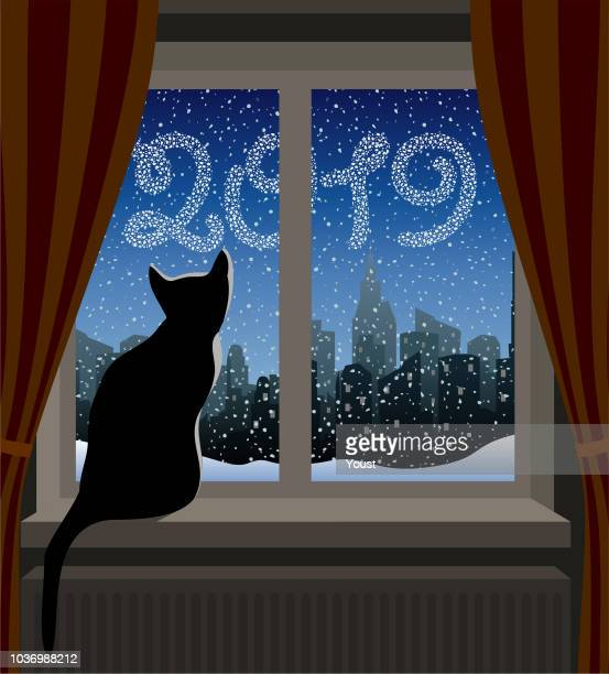 cat looking at winter city. new year 2019 - electric heater stock illustrations, clip art, cartoons, & icons