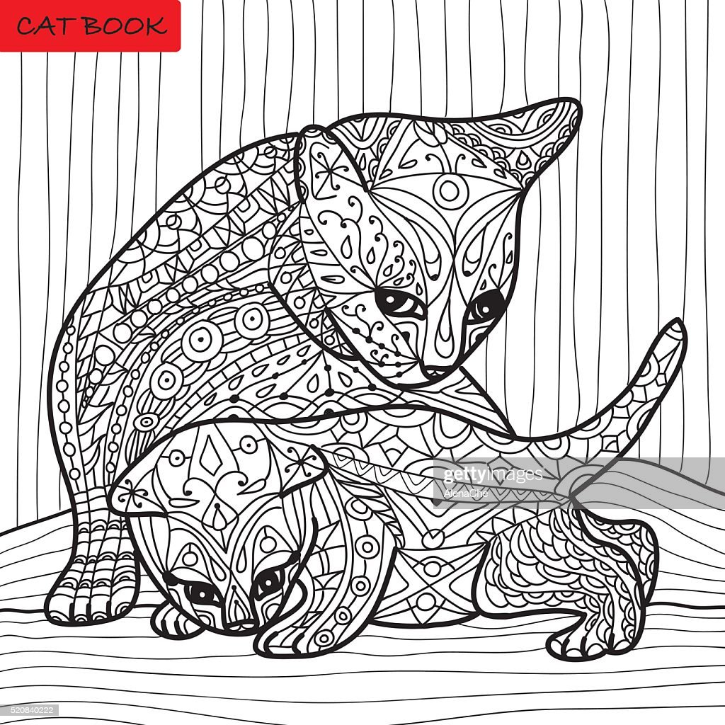 Cat Mother And Her Kitten Coloring Book For Adults Vector Art ...