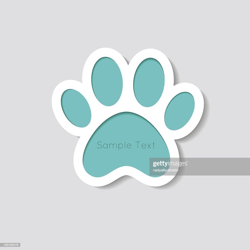 Cat paw banner - vector illustration