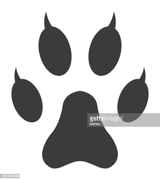 cat paw print icon - claw stock illustrations, clip art, cartoons, & icons