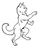 Cat Pet in Heraldic Rampant Coat of Arms Pose