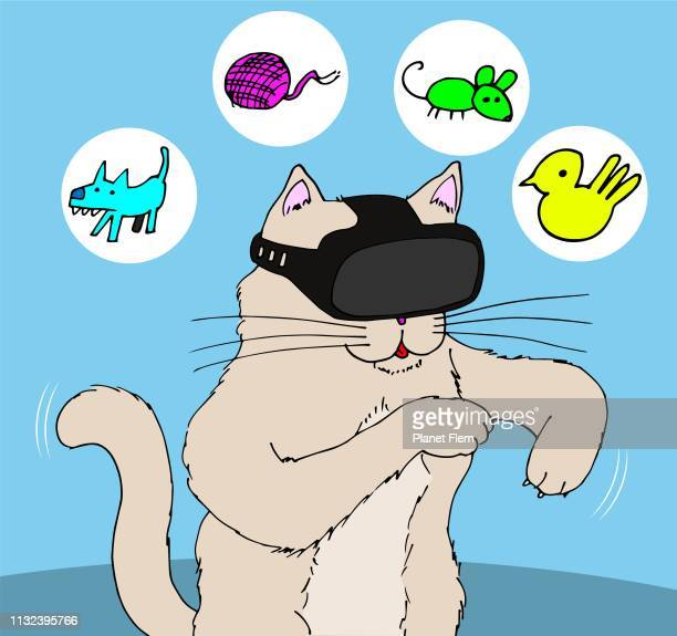 cat playing a virtual reality video game - action movie stock illustrations
