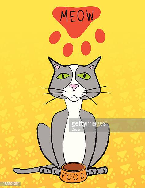 cat pointing out an empty food dish - cat food stock illustrations