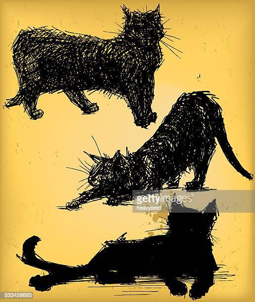 cat poses - purebred cat stock illustrations