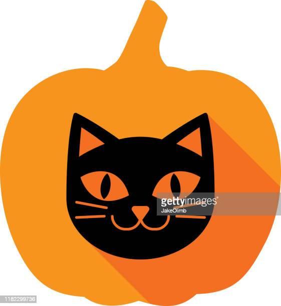 illustrations, cliparts, dessins animés et icônes de silhouette d'icône de citrouille de chat - chat noir