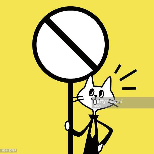 ilustraciones, imágenes clip art, dibujos animados e iconos de stock de cat mostrando una señal de prohibición - bullying escolar