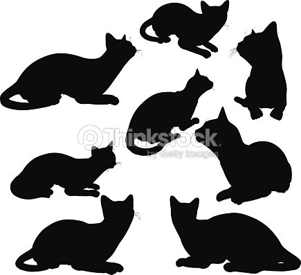 silhouette de chat pose en salon clipart vectoriel