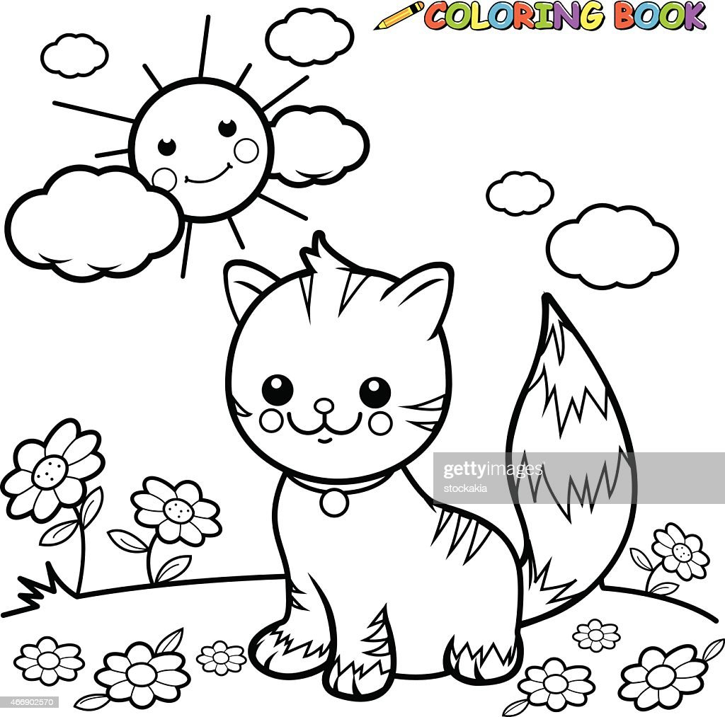 Cat sitting on grass coloring book page