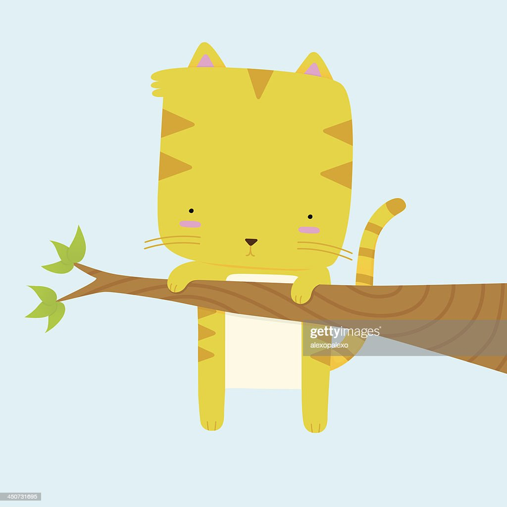 Cat Stuck on a Branch