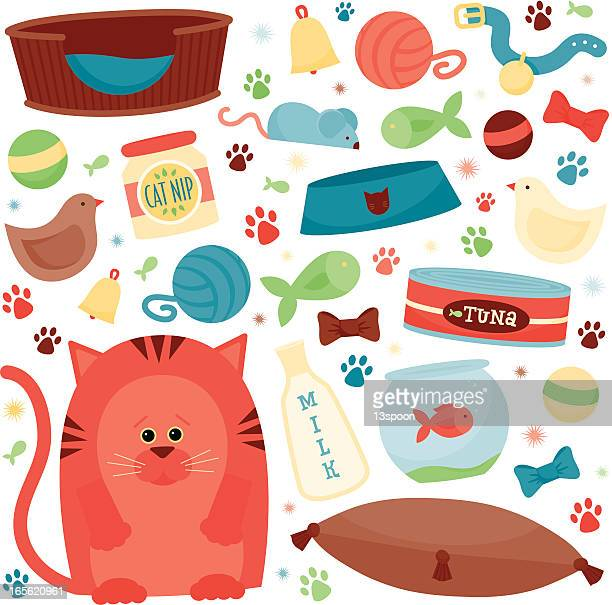 cat supplies - catmint stock illustrations