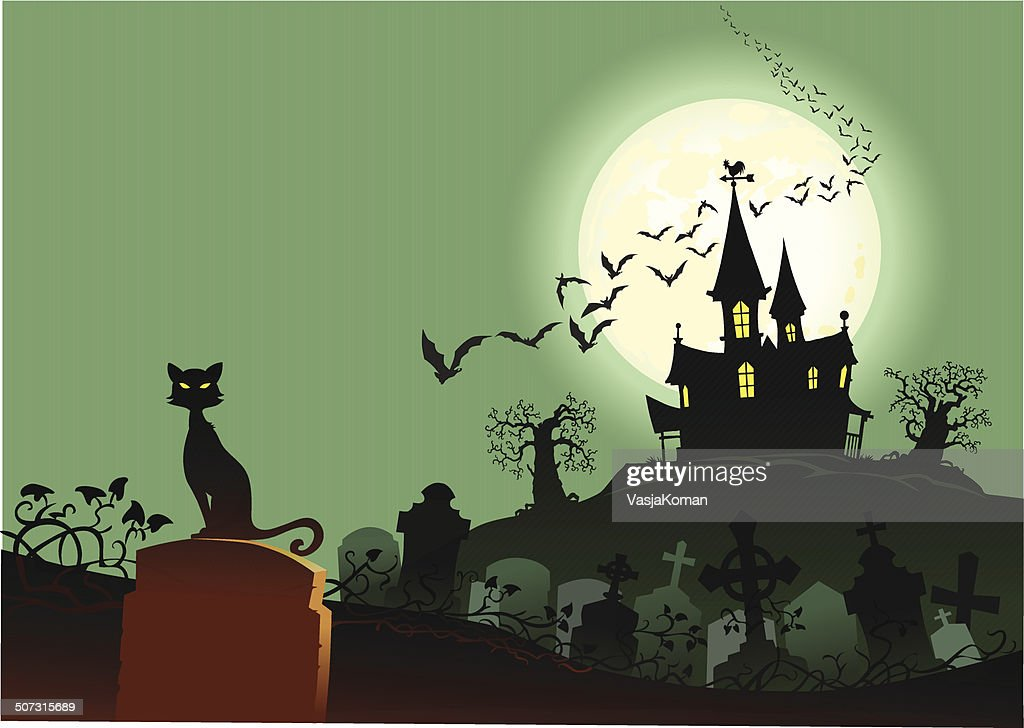 Cat With Haunted House and Graveyard