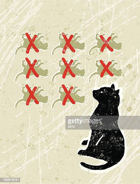 cat with nine lives - crossed out stock illustrations
