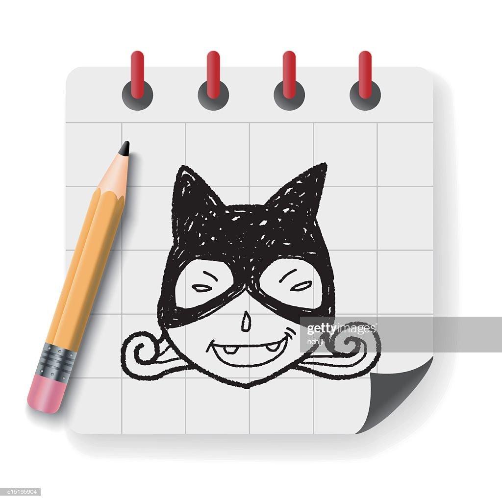 cat woman doodle