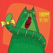 Cat yawns and inscription Happy Birthday