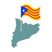 Catalonia flag and map. Estelada Blava banner ribbon. Symbol of State