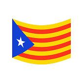 Catalonia flag isolated. Estelada Blava banner ribbon. Symbol of State