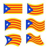 Catalonia flag set. Estelada Blava banner ribbon. Symbol of State