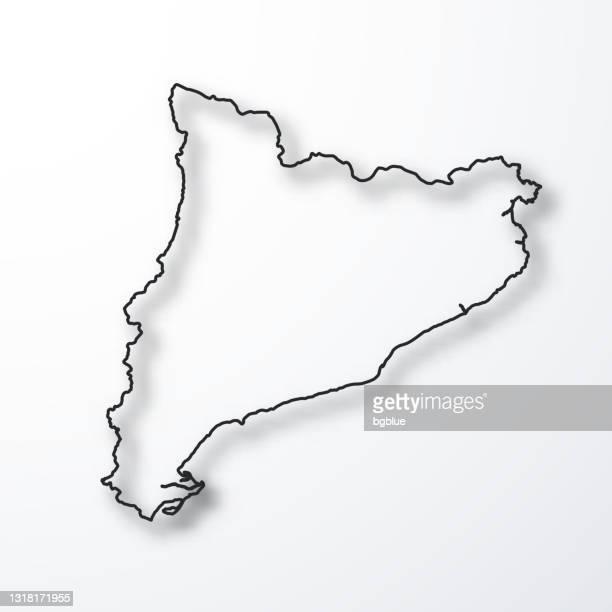 ilustrações de stock, clip art, desenhos animados e ícones de catalonia map - black outline with shadow on white background - catalunha