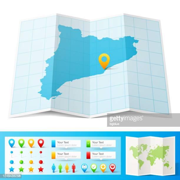 ilustrações de stock, clip art, desenhos animados e ícones de catalonia map with location pins isolated on white background - catalunha