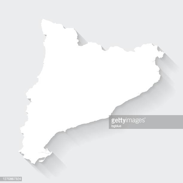 catalonia map with long shadow on blank background - flat design - catalonia stock illustrations